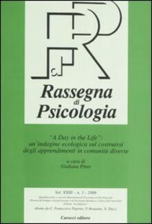 Antondemarirreguera.es Rassegna di psicologia (2006). Vol. 3: «A day in the life»: un'indagine ecologica sul costruirsi degli apprendimenti in comunità diverse. Image