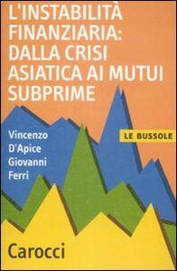 Libro L' instabilità finanziaria: dalla crisi asiatica ai mutui subprime Vincenzo D'Apice , Giovanni Ferri