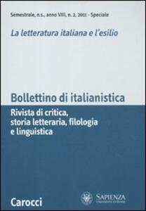 Bollettino di italianistica. Rivista di critica, storia letteraria, filologia e linguistica (2011). Vol. 2