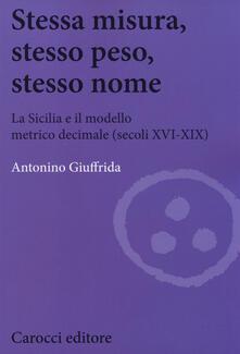Milanospringparade.it Stessa misura, stesso peso, stesso nome. La Sicilia e il modello metrico decimale (secc. XVI-XIX) Image
