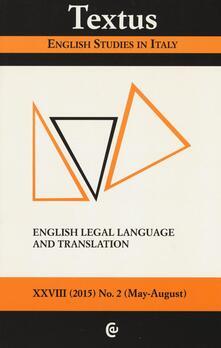Filippodegasperi.it Textus. English studies in Italy. Vol. 2: English legal language and translation. Image