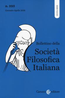 Cocktaillab.it Bollettino della società filosofica italiana. Nuova serie (2018). Vol. 223: Gennaio-aprile. Image