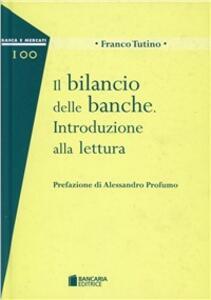 Il bilancio delle banche - Franco Tutino - copertina