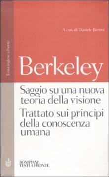 Letterarioprimopiano.it Saggio su una nuova teoria della visione-Trattato sui principi della conoscenza umana. Testo inglese a fronte Image
