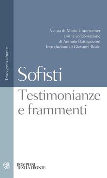Fondazionesergioperlamusica.it Sofisti. Testimonianze e frammenti. Testo greco a fronte Image