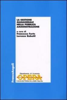 La gestione manageriale nella pubblica amministrazione - copertina
