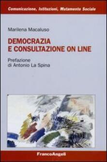 Democrazia e consultazione on line - Marilena Macaluso - copertina