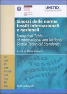 Sinossi delle norme tessili internazionali e nazionali. Ediz. italiana e inglese - copertina