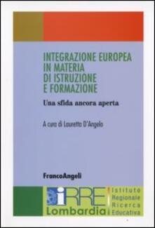 Integrazione europea in materia di istruzione e formazione - copertina