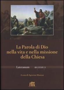 La Parola di Dio nella vita e nella missione della Chiesa - copertina