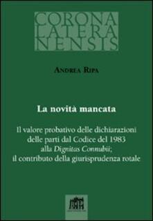 La novità mancata - Andrea Ripa - copertina