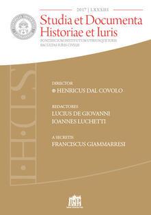 Studia et documenta historiae et iuris (2017). Vol. 83 - copertina