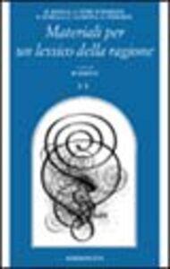 Libro Materiali per un lessico della ragione. Vol. 2