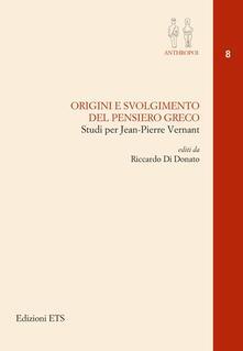 Origini e svolgimento del pensiero greco - copertina