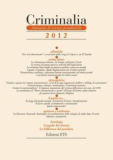 Criminalia. Annuario di scienze penalistiche (2012). Vol. 7 - copertina