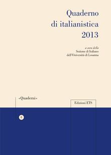 Quaderno di italianistica 2013 - copertina