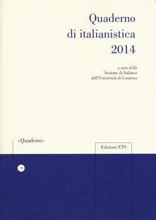 Quaderno di italianistica 2014 - copertina