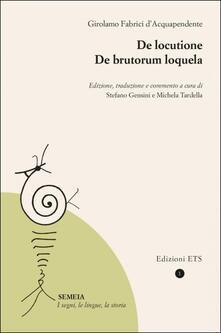 De locutione-De brutorum loquela - Girolamo Fabrici D'Acquapendente - copertina