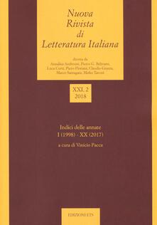 Nuova rivista di letteratura italiana (2018). Vol. 2 - copertina