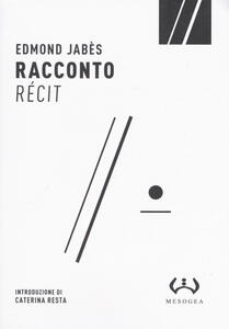 Libro Racconto-Récit Edmond Jabès