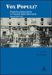 Vox populi? Pratiche plebiscitarie in Francia, Italia, Germania