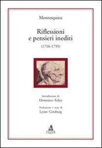 Riflessioni e pensieri inediti (1716-1755)