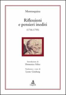 Riflessioni e pensieri inediti (1716-1755) - Charles L. de Montesquieu - copertina