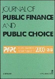 Journal of public finance and public choice. Economia delle scelte pubbliche (2000) vol. 2-3 - Domenico Da Empoli - copertina
