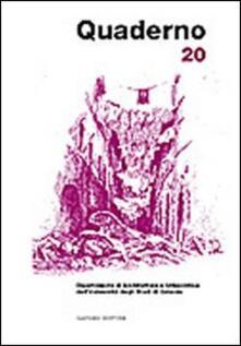 Quaderno del Dipartimento di architettura e urbanistica dell'Università degli studi di Catania. Vol. 20 - copertina