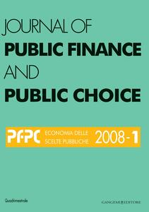 Journal of public finance and public choice (2008). Vol. 1