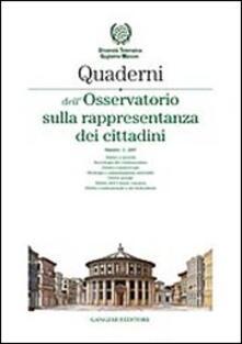Quaderni dell'Osservatorio sulla rappresentanza dei cittadini 2007. Vol. 2 - copertina
