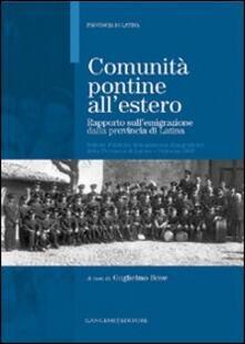 Comunità pontine all'estero. Rapporto sull'emigrazione dalla provincia di Latina - copertina