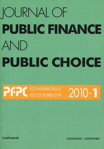 Journal of public finance and public choice (2010). Vol. 1 - copertina