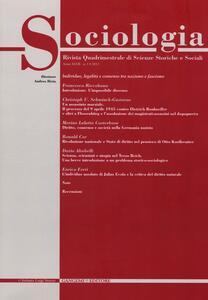 Sociologia. Rivista quadrimestrale di scienze storiche e sociali (2013). Vol. 1 - copertina