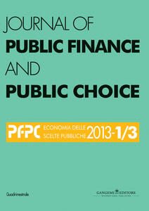 Journal of public finance and public choice (2013) vol. 1-3 - copertina