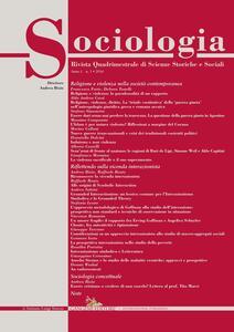 Sociologia. Rivista quadrimestrale di scienze storiche e sociali (2016). Vol. 1 - copertina