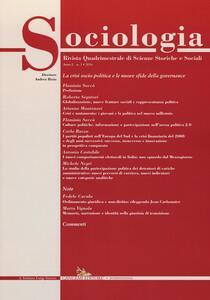 Sociologia. Rivista quadrimestrale di scienze storiche e sociali (2016). Vol. 3 - copertina