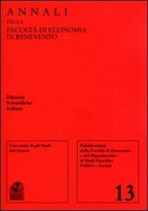 Annali della Facoltà di economia di Benevento. Vol. 13 - copertina