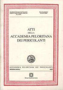 Atti della Accademia Peloritana dei Pericolanti (2009). Vol. 85 - copertina