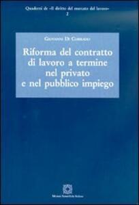 Riforma del contratto di lavoro a termine nel privato e nel pubblico impiego - Giovanni Di Corrado - copertina