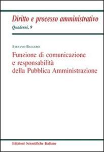 Funzione di comunicazione e responsabilità della Pubblica Amministrazione - Stefano Ballero - copertina