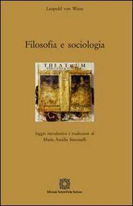 Libro Filosofia e sociologia Leopold von Wiese