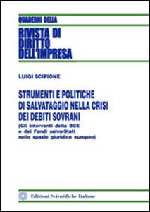 Foto Cover di Strumenti e politiche di salvataggio nella crisi dei debiti sovrani, Libro di Luigi Scipione, edito da Edizioni Scientifiche Italiane