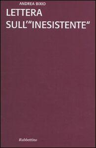 Libro Lettera sull'«inesistente» Andrea Bixio
