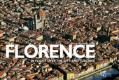Florence. In flight over the city and Tuscany