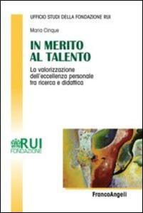In merito al talento. La valorizzazione dell'eccellenza personale tra ricerca e didattica