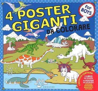 Dinosauri, aeroporto, stazione fattoria. 4 poster giganti da colorare for boys. Ediz. a colori