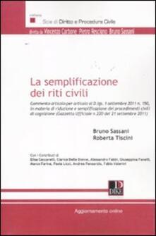 La semplificazione dei riti civili