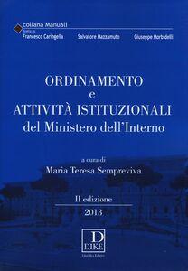 Libro Ordinamento e attività istituzionali del ministero dell'interno
