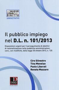 Il pubblico impiego nel D.L. n. 101/2013